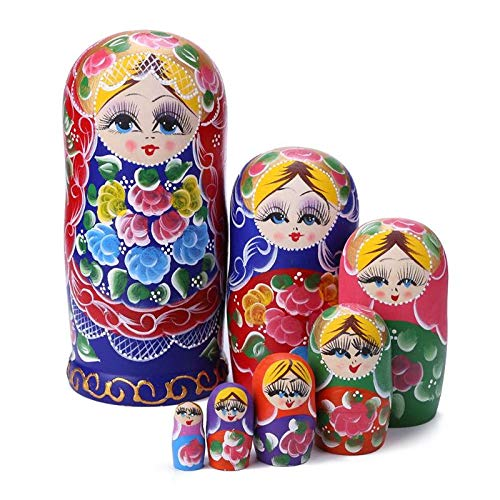 Khosd Muecas Rusas Matryoshka Madera Clsica Colorida Flor Pura Mano Anidar Juguetes De Pintura De Chico para Nios