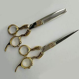 Retro Barber Scissors Luxury Professional Hairdressing Scissors Hair Scissors Set,ToothCut6Inch