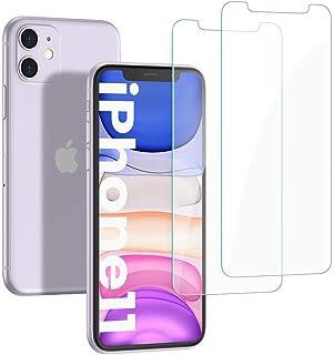 يوجرين واقي شاشة لهاتف iPhone 11 / iPhone XR 6.1 بوصة، واقي شاشة من الزجاج المقوى عالي الدقة من عبوتين، صلابة 9H، حافة مست...