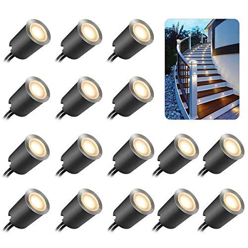 Lot de 16 lampes de terrasse à LED avec coque de protection φ32 mm Blanc chaud Éclairage de terrasse IP67 étanche 12 V basse tension pour marches de jardin, escalier, terrasse, sol,plinthes de cuisine