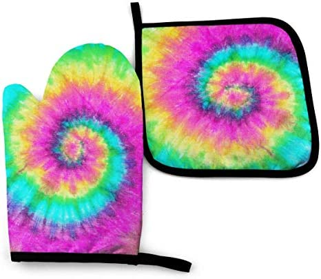 XIAGEANA Colorful Tie Dye Pattern Heat Resistant Oven Mitts Pot Holders for Kitchen Set Soft product image
