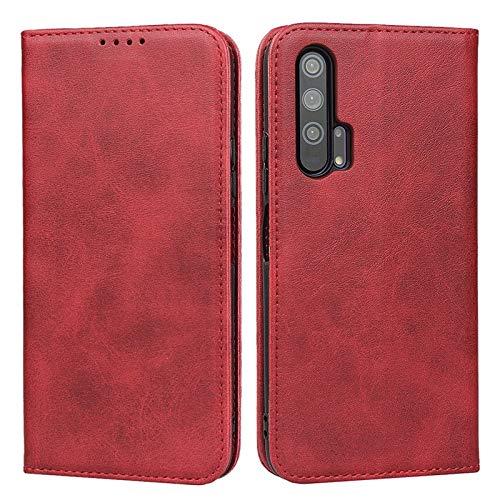 OLUMBO Caso sustancial Monedero de Cuero con Cierre imantado con titulares de Tarjetas y Pata de Cabra, para Huawei Honor 20 Favorable Caso Carcasa de telefono (Color : Red)