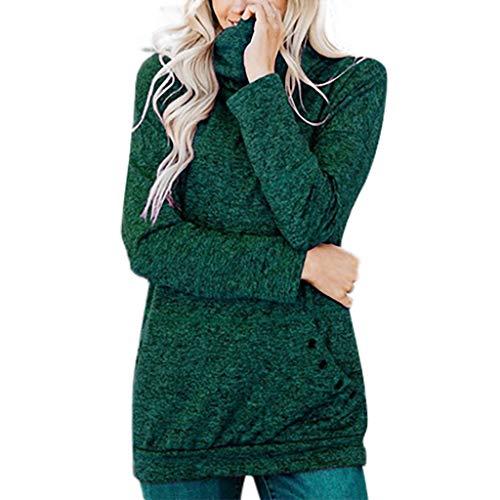 Sudadera de manga larga para mujer con cuello alto en negro, verde, rojo, rosa, rojo vino, amarillo, blusa de manga larga para otoño e invierno verde L