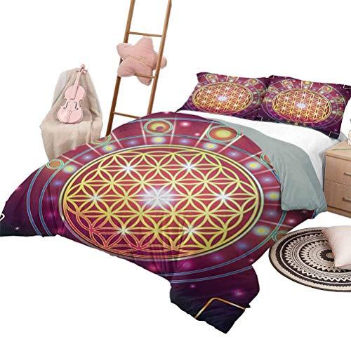 Heilige Geometrie Kinder Bettbezug Set Spirituelle Symbolische Abstrakte Formen Mathematik und Artsy Digitaldruck Waschbarer Bettbezug Set Mehrfarbig mit 2 Kissenbezügen, Twin XL Größe