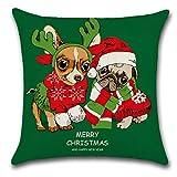 Lihan Funda de Almohada Navidad Series fundas de cojín almohada cuadrado decoración navideña regalo para sofás dormitorio Auto Throw Reno Rudolph duende Elk, Perro de navidad 5 45x45cm/17.72x17.72inch