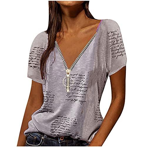 UEsent Camiseta de mujer vintage de verano de manga corta con cuello en V, informal, holgada, de moda, para verano, de manga corta, estilo informal Gris-b L