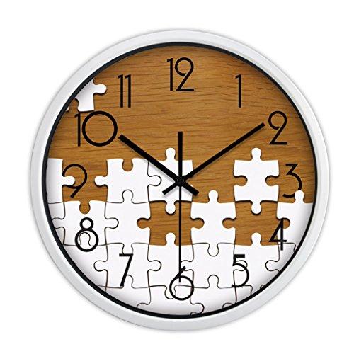 Horloges Métallique Murale Rond Quartz et Montres Balayer Les Secondes Muet Silencieux Convient pour la Chambre et Le Salon (Color : Brown-C, Size : 30.5cm(12inch))