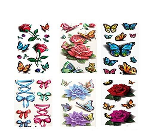 6PCS 3D Tattoo Stickers, Arte corporal del tatuaje temporal, Tatuajes temporales de mariposas para mujeres, Pegatinas de tatuajes sexy para mujeres, Etiqueta engomada del tatuaje de rosa roja