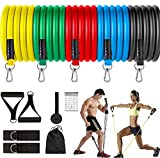 Fashnex Resistance Bands Set for Exercise, Stretching and Workout Toning Tube Kit with Foam Handles, Door Anchor, Ankle Strap and Carrying Bag for Men, Women