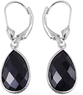 Dangle Drop Lever Back Earrings 925 Sterling Silver Black Spinel White Topaz Jewelry for Women Gift Ct 9