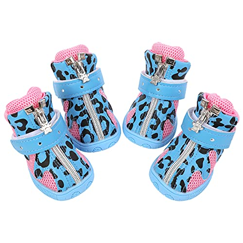 MAZORT Dog Boots, Breathable Non-Slip Summer Puppy Mesh Shoes with TPR Soles for Hot Pavement, Pet Paw Protector with Adjustable Reflecitve Strap & Zipper for Small Medium Doggies (3#, Blue)