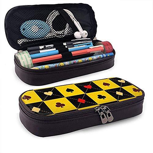 Trajes de cartas Tablero de ajedrez negro amarillo Diamante Pu Cuero Estuche de lápices Estuche Estuche de bolígrafo lindo con cremallera Papelería