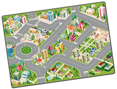 STARLUX – Tapis de Jeu Petites Voitures pour enfant – Antidérapant – Circuit de ville – 120 x 80 cm – 801129