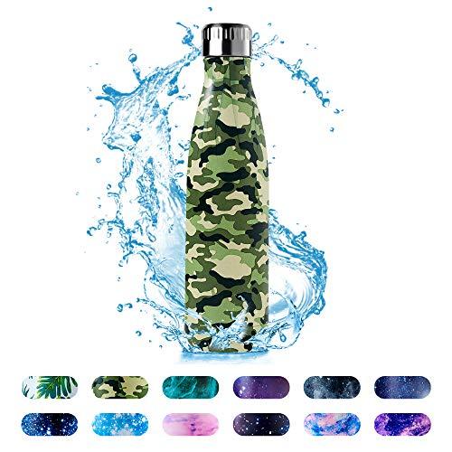 HonHike Botella de Agua Acero Inoxidable 500ml, Aislamiento de Vacío de Doble Pared Botella Termica Para Niños, Adulto, Sport, Gimnasio - Verde Camuflaje