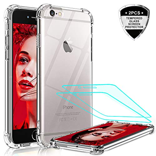 LeYi Funda iPhone SE 2020 / 6 / 6S / 7 / 8 / con [2-Unidades] Cristal Vidrio Templado, Transparente Shockproof Carcasa Silicona PC y TPU Slim Gel Bumper Cover Case para Movil Apple iPhone 8,Clear