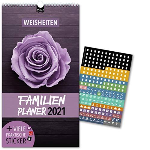 Familienplaner 2021 – WEISHEITEN | 5 Spalten | Wandkalender: 23x43cm | Familienkalender & 228 praktische Sticker, Ferien 2021/22, Pollen-, Obst- & Gemüse-, Jahreskalender, Vorschau bis März 2022