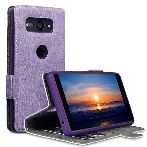TERRAPIN, Kompatibel mit Sony Xperia XZ2 Compact Hülle, Leder Tasche Case Hülle im Bookstyle mit Standfunktion Kartenfächer - Lila