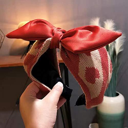 Fuduoduo Impresa Nudo De Moda Diadema,Diadema Ancha de Lana Nueva-Rojo Vino,Turbantes para Mujer Cabello Hair Band