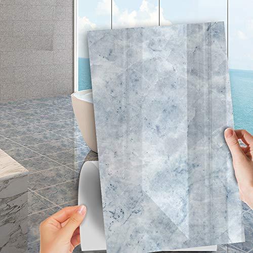 Hiser Rectángulo Adhesivos Decorativos Azulejos Pegatinas para Baldosas del Baño, 5 Piezas Clásico Mármol Patrón Cocina Mármol Resistente al Agua Pegatina de Pared (Mármol Azul,60x30cm)