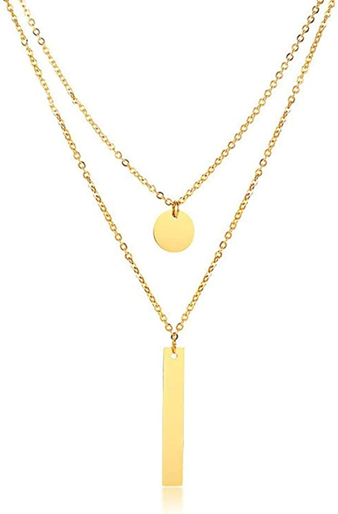 Layered Disc Bar Pendant Choker Necklace for Women Girls Stainless Steel 2 Layer Gold Coin Tassel Drop Chain Y Collar Trendy Necklace Fashion Personalized Dainty Body Jewelry Gift