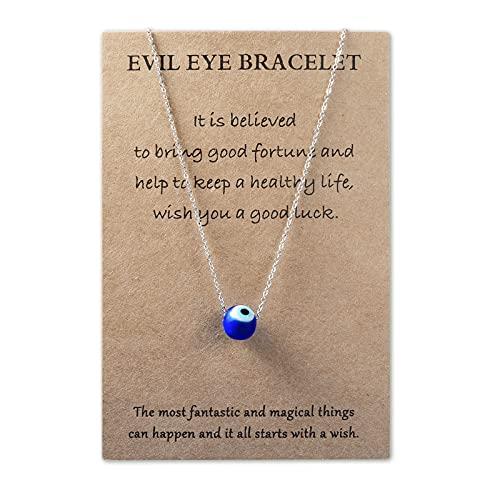 VGWON - Collar de Mal de Ojo Turco, Colgante de Ojos Azules para Mujer, Ideas de Regalos Originales para Mujeres, Regalos de Joyería Personalizados, Regalo Cumpleaños Mujer