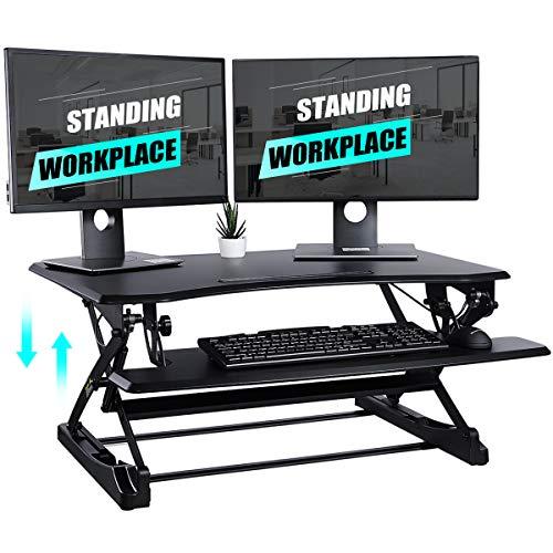 Tooca Standing Desk, 36 inch Height Adjustable Stand Up Desk Converter, Wide Laptop Riser for Keyboard & Dual Monitor Workstation, Ergonomic Tabletop Desk Stand - Easily Sit or Stand (Classic Black)