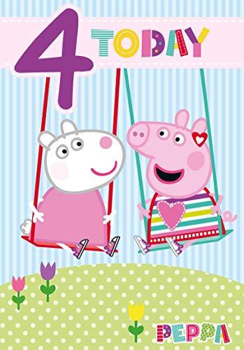 Offizielle Peppa Wutz Geburtstagskarte zum 4. Geburtstag – Peppa Pig und Suzie Schaf