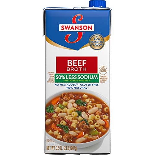 Swanson 50% Less Sodium Beef Broth, 32 oz. (Pack of 12)
