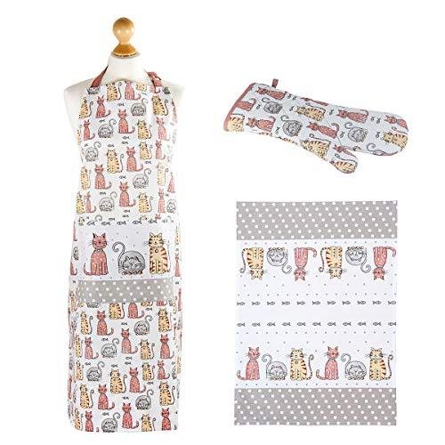 SPOTTED DOG GIFT COMPANY Set 3 - Torchons de Cuisine, Tablier et Maniques Cuisine Gant, Motif Chats Mignons, Accessoires de Cuisine, Cadeau pour Femme et Amoureux des Chat