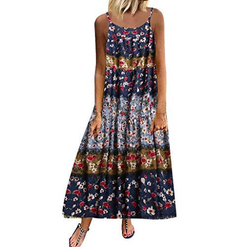 Women Plus Size Dress Summer Casual Loose Sleeveless Floral Print Daily Linen Bohemian Long Maxi Dress Purple