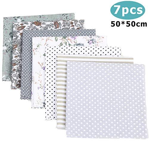 Travistar 7pcs Baumwolltuch Baumwoll (50 x 50cm) zum Nähen Patchwork Stoffe Paket für Patchwork nähstoffe DIY Stoff Mix,Grau