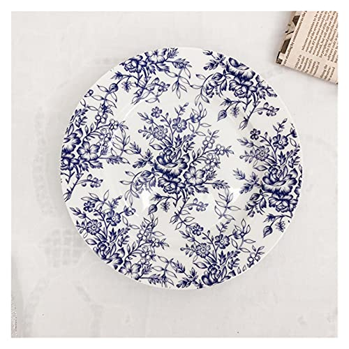 NINGLIU Plato de cerámica con diseño de flores azules pintadas a mano estilo retro francés de 1 pieza (color: azul (8 pulgadas) 8 pulgadas)