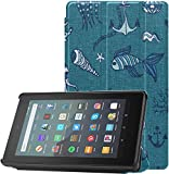 All-New Amazon Fire 7 Tablet Case (9th Generation, 2019 Release) Slim Fit PU Leather Standing Ocean Sea Pattern Fire 7 Tablet Standing with Auto Wake/Sleep