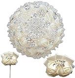 WANGQW Boda Ramo romántico Flores Artificiales, Bouquet Nupcial Artificial Ivory Rose Prom Pidesmaid Hermanas Flor de muñeca y Boutonniere Set de Boda (Color : 18cm Ivory)