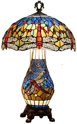 MARUA Tiffany-Stil Tischlampe 16 Zoll Mittelmeer Buntglasschmuck Libellen-Entwurf Schreibtischleuchten Mit 3 Birnen-nachtlicht Basis Für Office Wohnzimmer