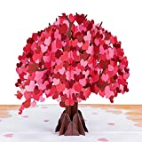 Paper Love Tree of Hearts Valentines Day Pop Up Card, Handmade 3D Popup Greeting Cards for Valentine's Day, Wedding, Anniversary, Love, Romance, All Occasion