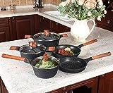 Kitchen Academy - Juego de 12 sartenes de inducción de aluminio fundido, antiadherente, juego de utensilios de cocina con tapas de mango de madera, accesorios para freír y sartenes