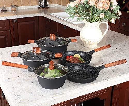 Kitchen Academy Lot de 12 poêles à induction en fonte d'aluminium anti-adhésif avec couvercle en bois, accessoires pour frire et poêles