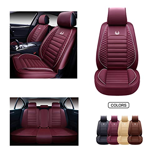 OASIS AUTO OS-011 Leather Car Seat Covers, Faux Leatherette Automotive Vehicle Cushion Cover for Cars SUV Pick-up Truck Universal Fit Set for Auto Interior Accessories (Full Set, Burgundy)