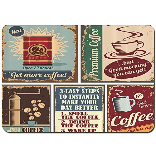 ZUL Badematten,Kaffee Plakate und Zeichen Design Bohnenbecher Espresso Tasse Cappuccino Logo Print,weich waschbar rutschfeste Badteppich 75X45cm