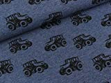 Swafing Baumwolljersey Fritz Traktoren schwarz auf