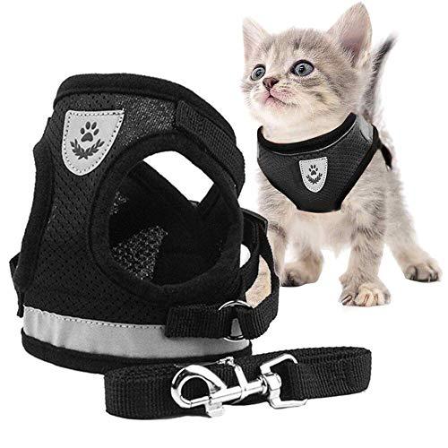 Toulifly Arnés Gato,Arnés para Gatos,Arnés y Correa para Gato,Cat Harness,Cat Vest Harness, Ajustable Respirante Pequeña Chaleco para Cachorros, Perros Pequeños y Gatos (M) 🔥