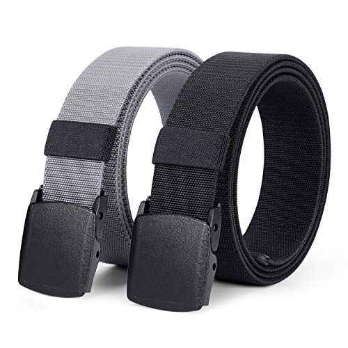 2 Pack Men's Elastic Stretch Belt, JASGOOD Outdoor Plastic Belt with Removable Buckle Hiking Belt 38mm (Fit up to 44 inches, Black)