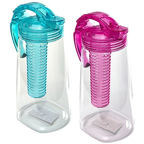 Oxid7® Kunststoff-Karaffe mit Frucht-Einsatz | BPA-frei | Türkis | 2 Liter Wasserkaraffe | Teekanne aus Tritan