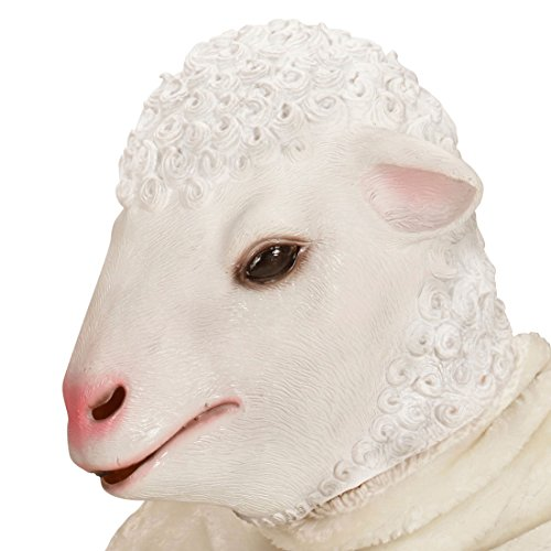 Amakando Schafsmaske Lamm Tiermaske Ziege Schaf Kostüm Accessoire Ziegenmaske Erwachsene Schafkostüm Zubehör Latex Schaf Maske
