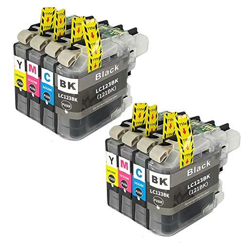 SXCD Cartucho de Tinta LC123 para Brother, Reemplazo para MFC-J4610DW J4710DW J470DW J6920DW DCP-J4110DW J132W Cartuchos de Impresora de Alto Rendimiento Compatible 4 Col Combination x 2
