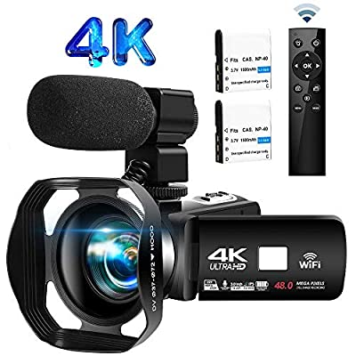 Video Camera 4K 30FPS 48.0MP Camcorder 18X Digital Camera 3.0 in Touch Screen WiFi Vlogging Camera IR Night Vision Video Camera with External Microphone and Remote Control from SEREE