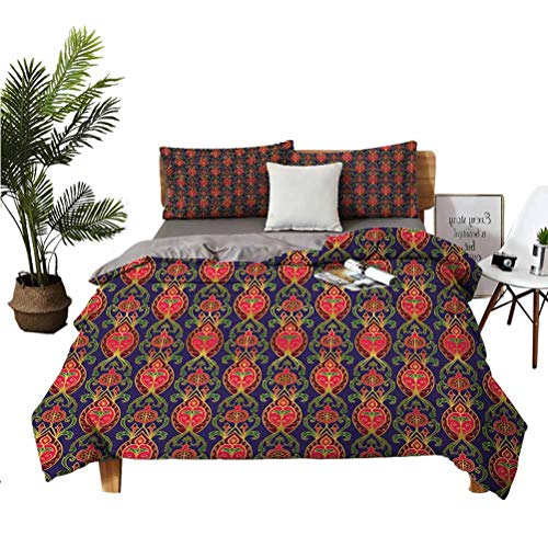 Turkish Pattern Wrinkle-free breathable refreshing refreshing to the touch luxurious cotton 3-piece set Oriental Botanical Pattern with Pomegranates and Leaves on Indigo Backdrop Easy to install brea
