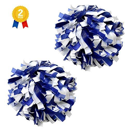 "PEACKLLY 6"" Plastic Cheerleader Cheerleading Pom Poms,1 Pair 2 Pieces (Royal Blue/White)"