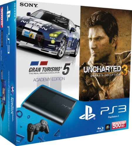 Preisvergleich Produktbild PlayStation 3 - Konsole Super Slim 500 GB (inkl. DualShock 3 Wireless Controller + Uncharted 3 GOTY + Gran Turismo 5 - Academy Edition)